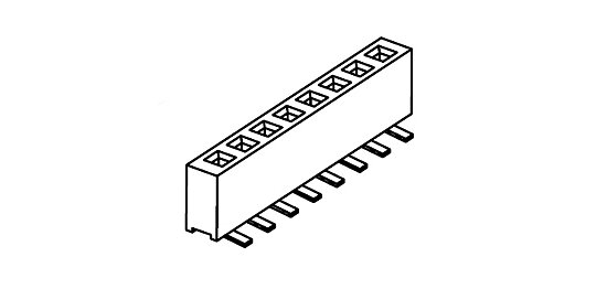Bild 1 - Female Header 1.0 mm pitch single row SMD straight Top Entry