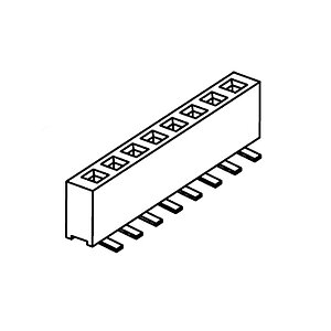 Female Header Pitch 1.27mm single row SMD straight Top Entry