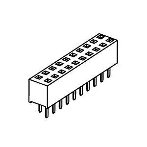 Female Header Pitch 2.54mm dual row SMD straight Dual Entry